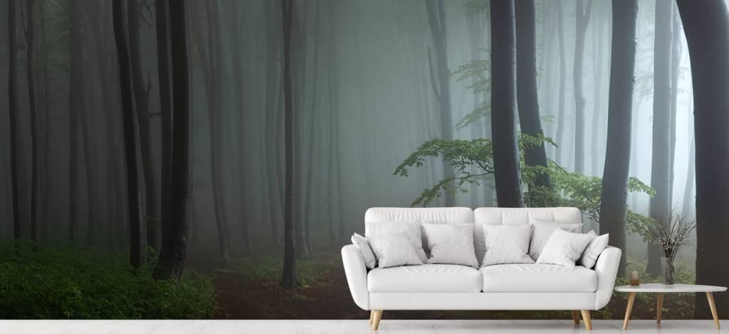 Bos behang - Mistig bos panorama - Garage 4