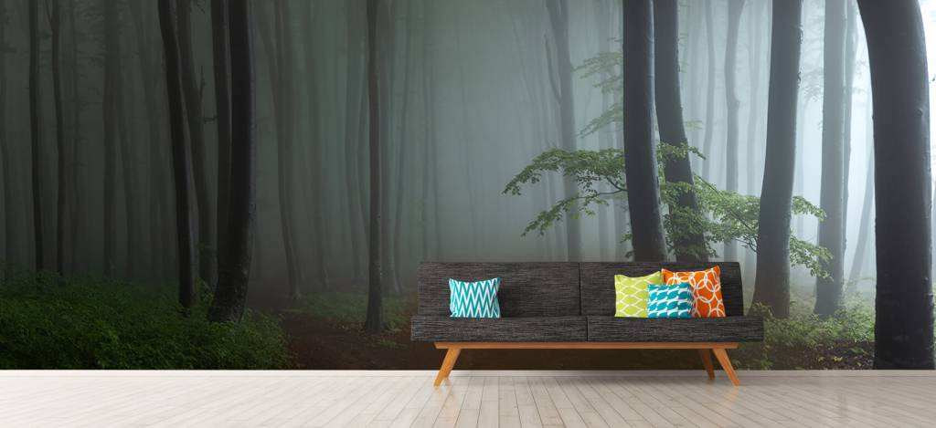 Bos behang - Mistig bos panorama - Garage 9