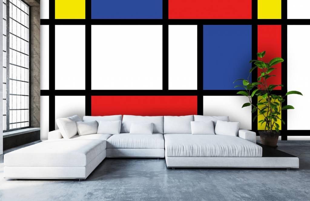 Abstract behang - Mondriaan - Hobbykamer 1