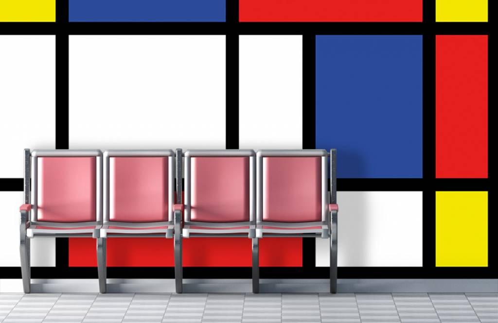 Abstract behang - Mondriaan - Hobbykamer 3