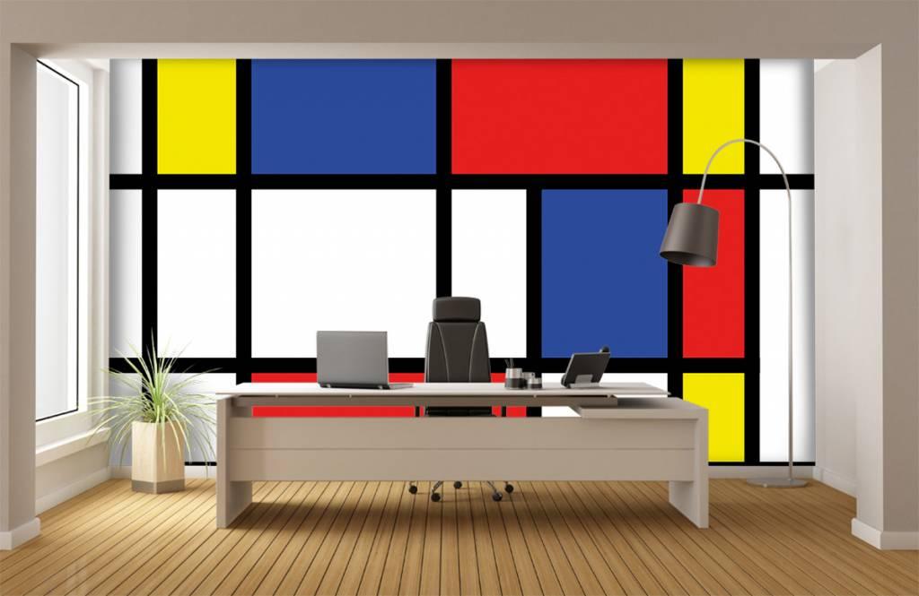 Abstract behang - Mondriaan - Hobbykamer 4