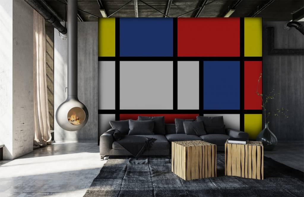 Abstract behang - Mondriaan - Hobbykamer 7