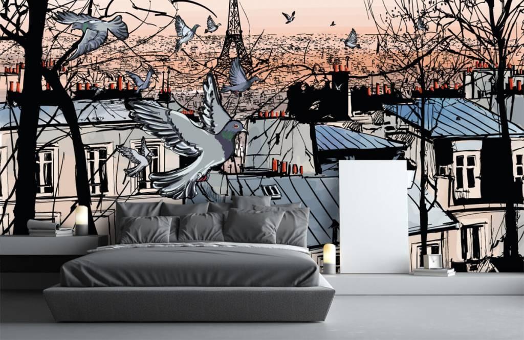 Modern behang - Montmartre in Parijs - Slaapkamer 2