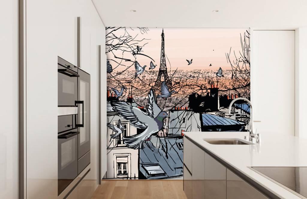 Modern behang - Montmartre in Parijs - Slaapkamer 3