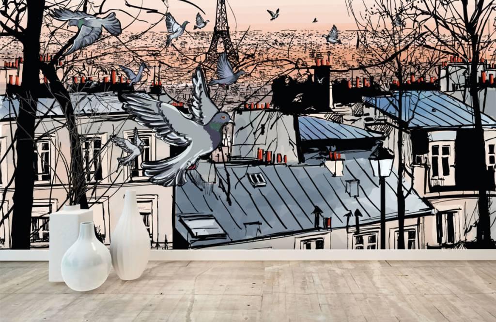Modern behang - Montmartre in Parijs - Slaapkamer 8