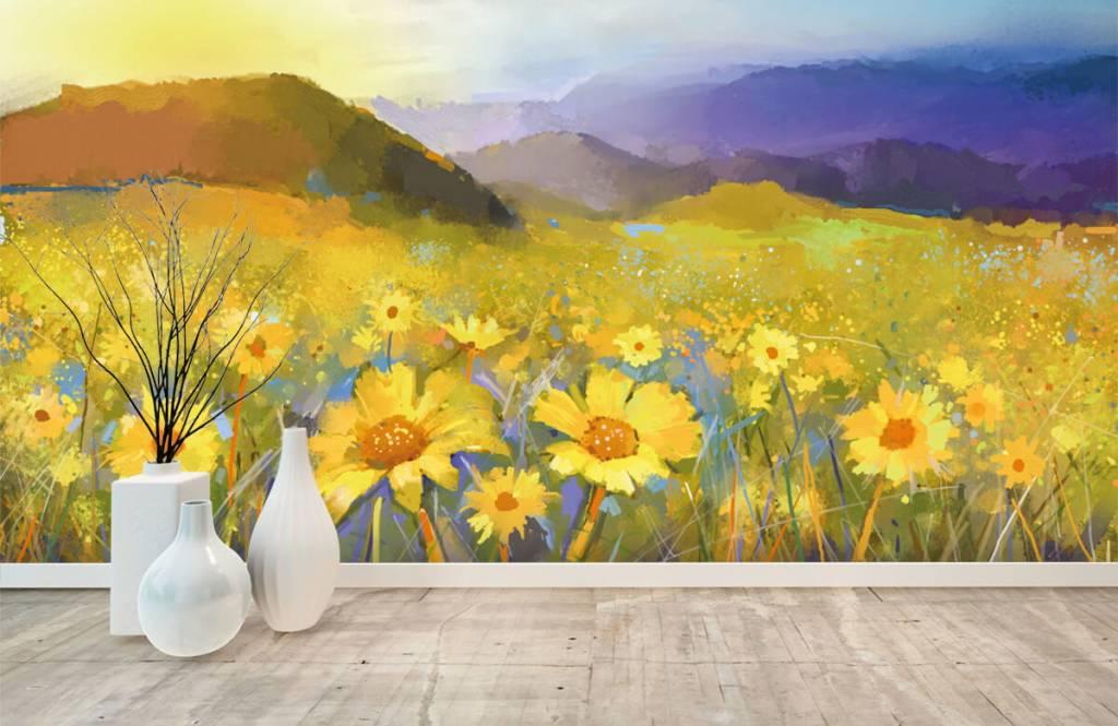 Bloemenvelden - Olieverfschilderij landelijke zonsondergang - Woonkamer 1