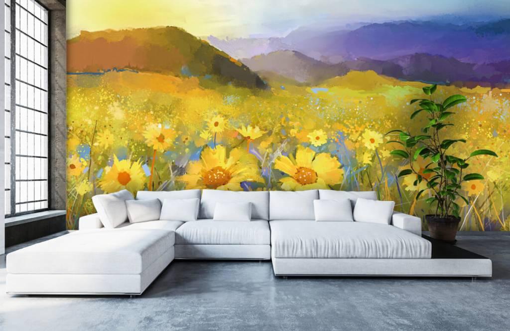 Bloemenvelden - Olieverfschilderij landelijke zonsondergang - Woonkamer 2