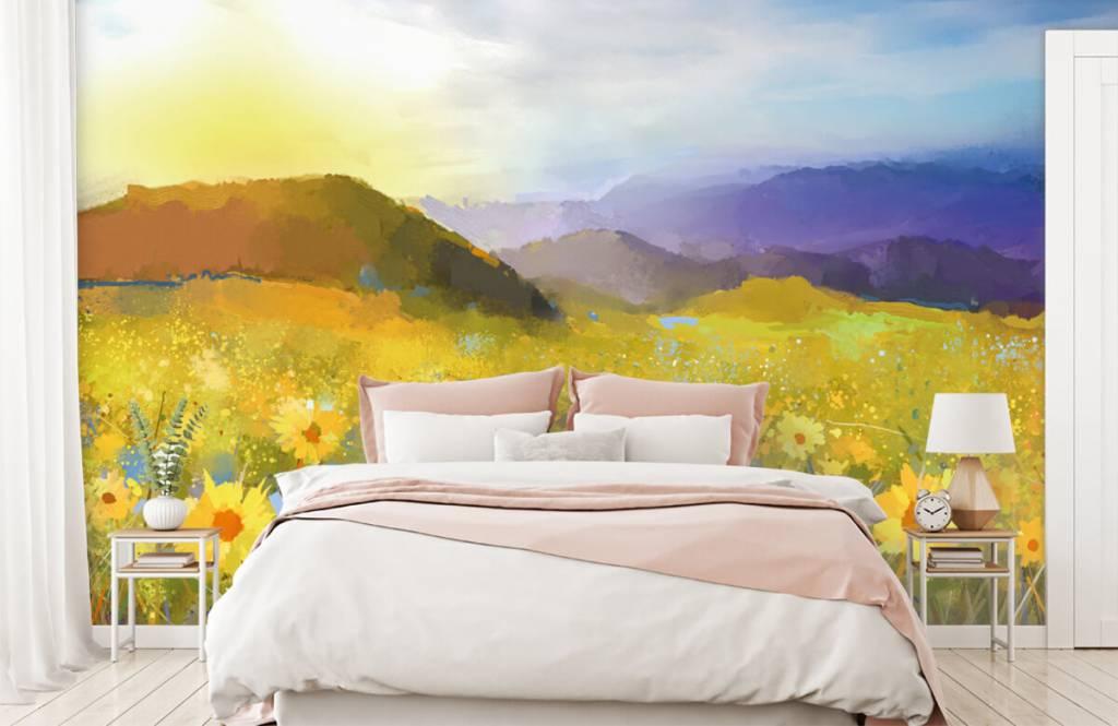 Bloemenvelden - Olieverfschilderij landelijke zonsondergang - Woonkamer 3