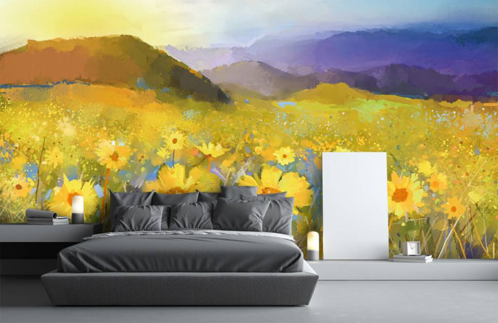 Bloemenvelden - Olieverfschilderij landelijke zonsondergang - Woonkamer 4