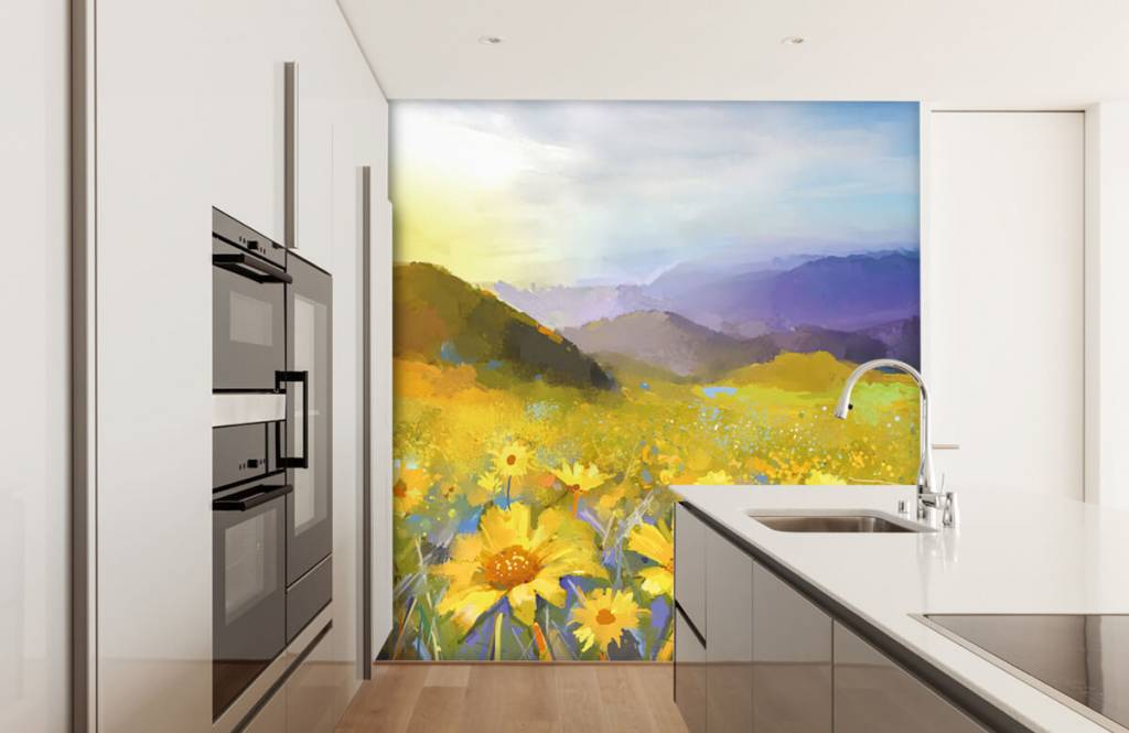 Bloemenvelden - Olieverfschilderij landelijke zonsondergang - Woonkamer 5