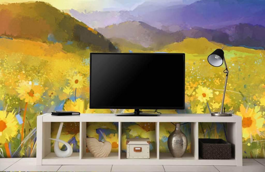 Bloemenvelden - Olieverfschilderij landelijke zonsondergang - Woonkamer 6