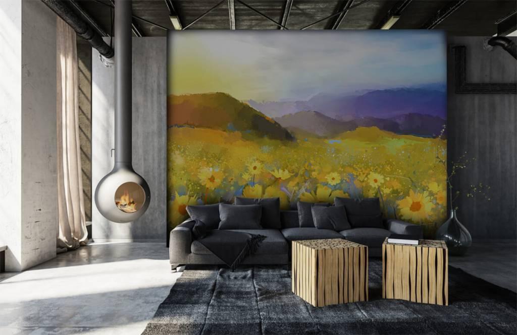 Bloemenvelden - Olieverfschilderij landelijke zonsondergang - Woonkamer 7