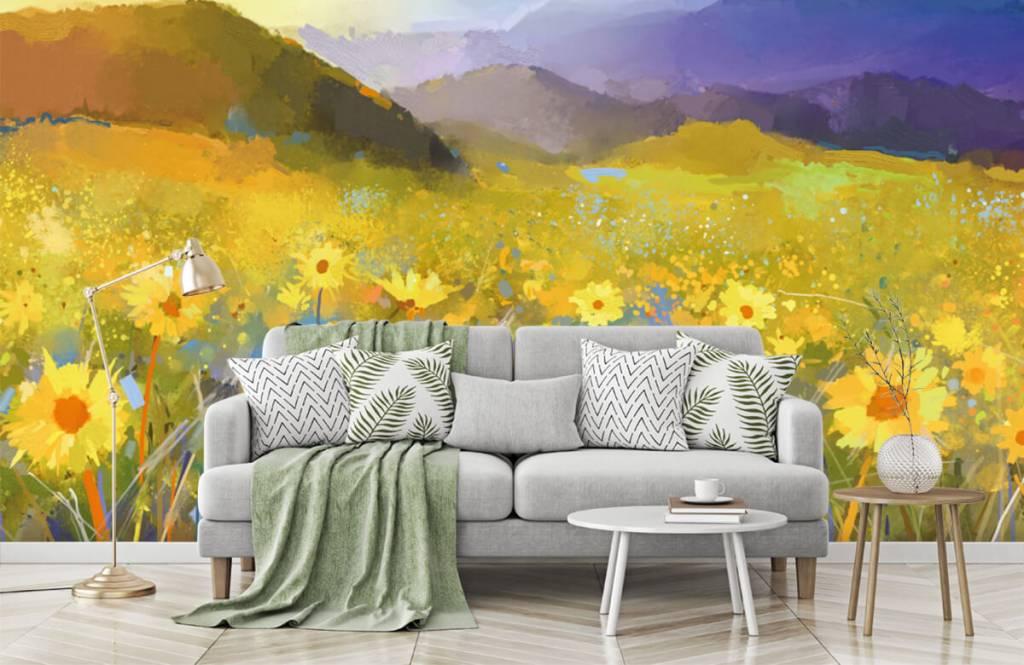 Bloemenvelden - Olieverfschilderij landelijke zonsondergang - Woonkamer 8