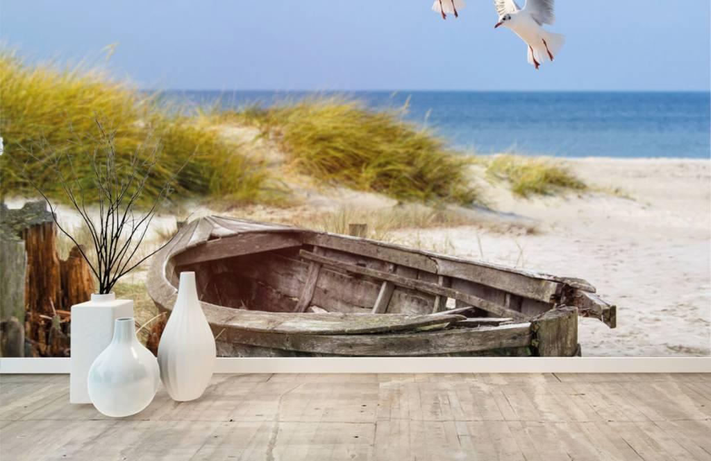 Boten en Watersport - Oude vissersboot, meeuwen, strand en zee - Woonkamer 7