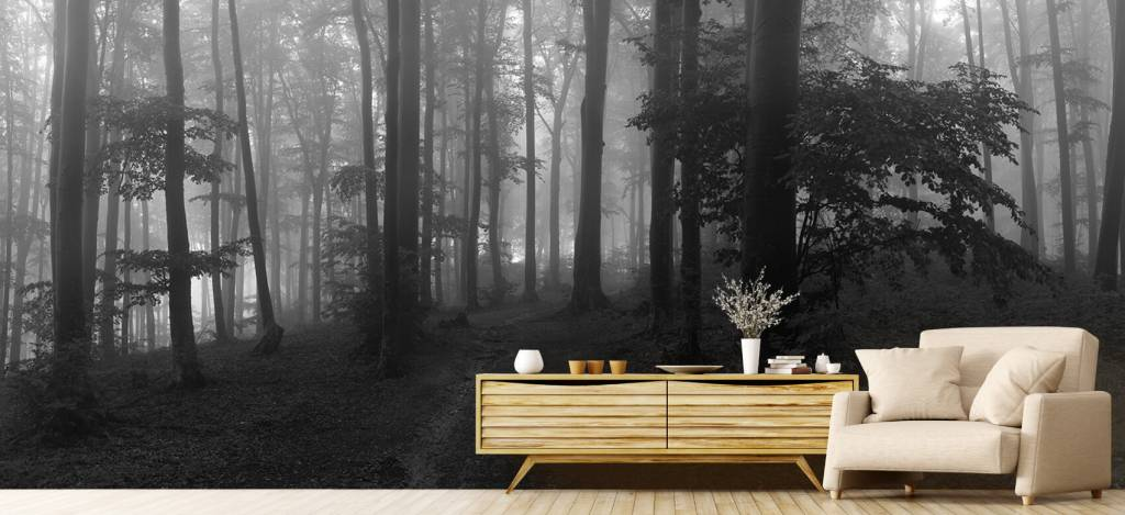 Bos behang - Pad door mistig groen bos - Kantoor 6