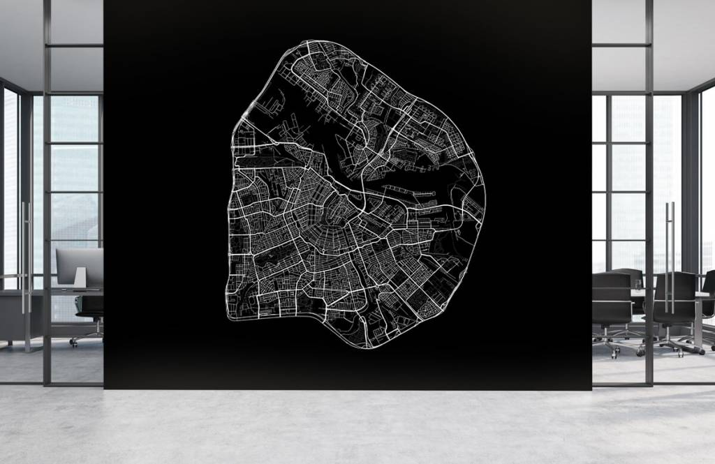 Kaarten - Plattegrond van Amsterdam, zwart - Gang 4