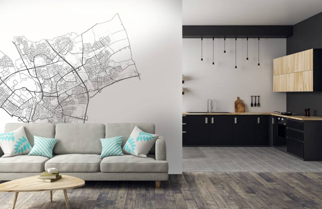 Kaarten - Plattegrond van Den Bosch, wit - Ontvangstruimte 4