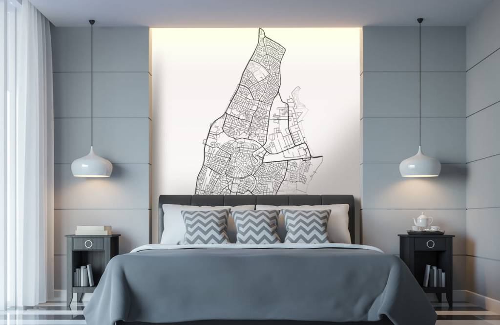 Kaarten - Plattegrond van Haarlem, wit - Ontvangstruimte 6
