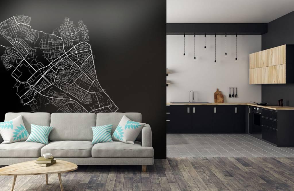 Kaarten - Plattegrond van Zwolle, zwart - Verkoopafdeling 5