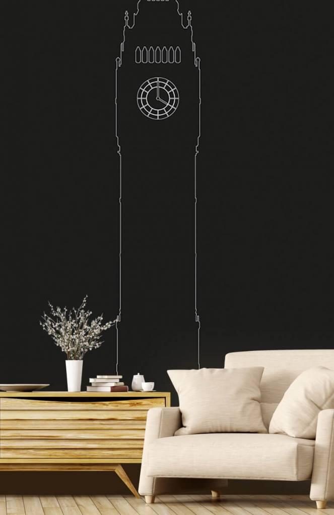 Zwart Wit behang - Portret van de Big Ben, zwart - Kantoor 1