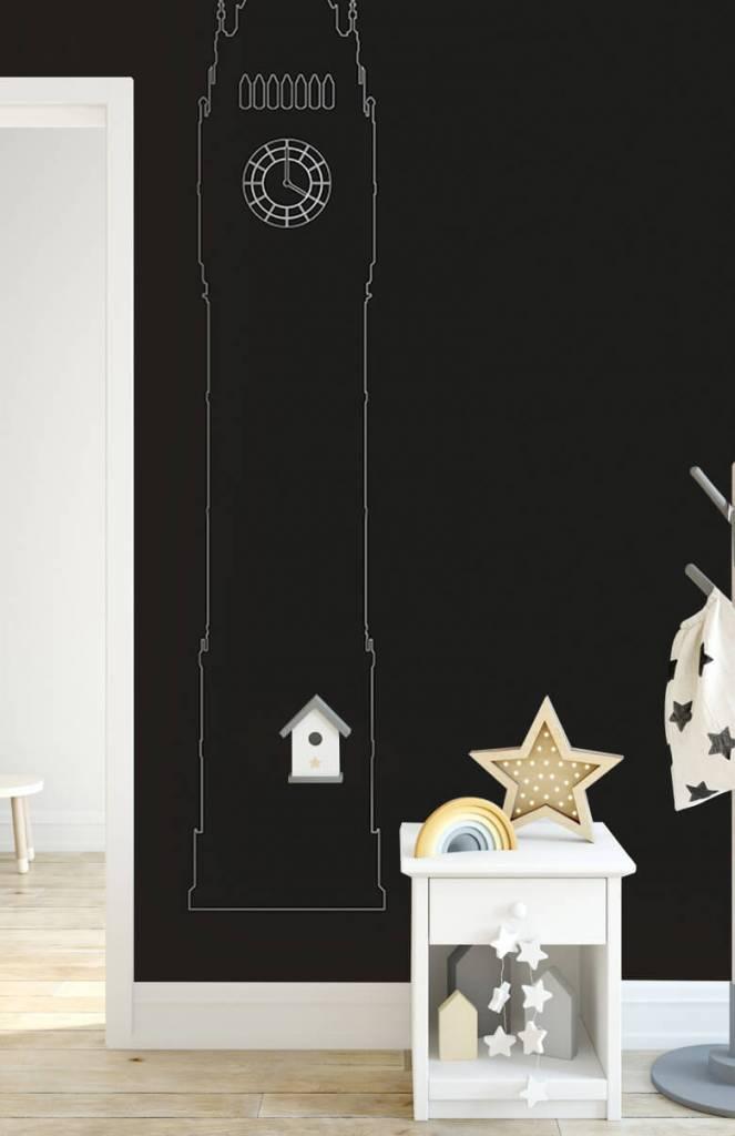 Zwart Wit behang - Portret van de Big Ben, zwart - Kantoor 3