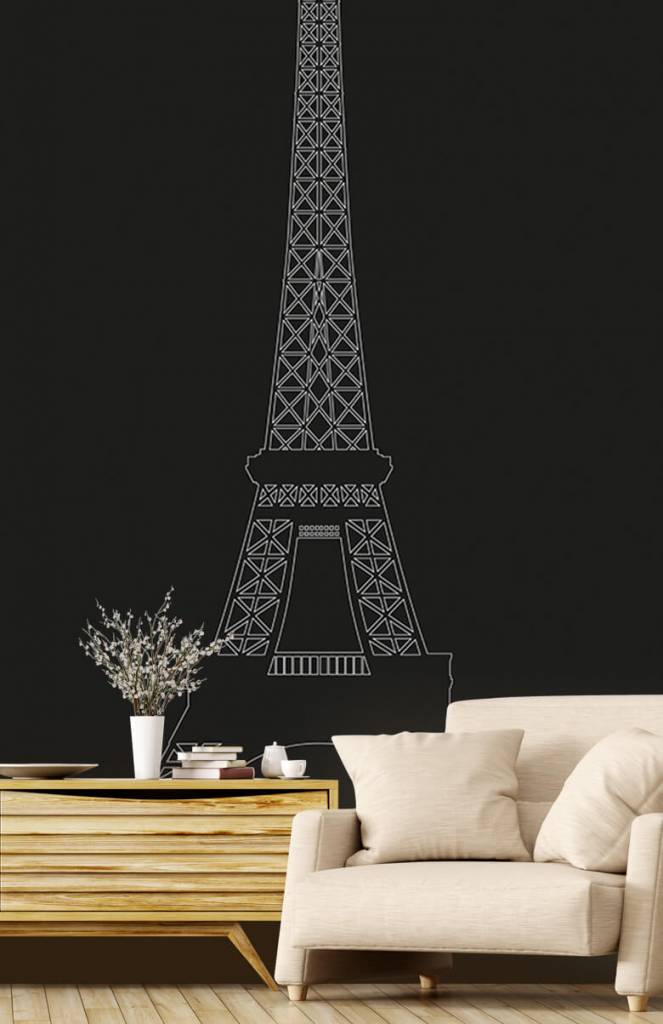 Zwart Wit behang - Portret van de Eiffeltoren, zwart - Kantoor 1