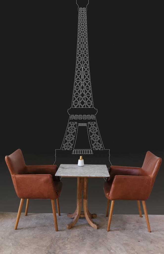 Zwart Wit behang - Portret van de Eiffeltoren, zwart - Kantoor 2