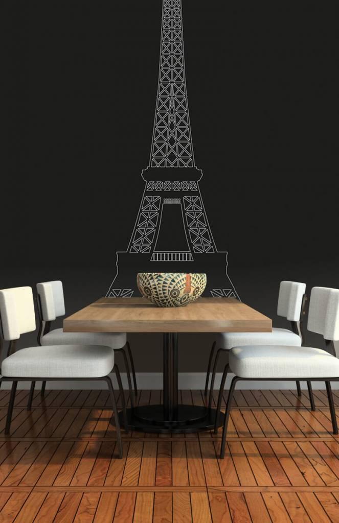 Zwart Wit behang - Portret van de Eiffeltoren, zwart - Kantoor 3