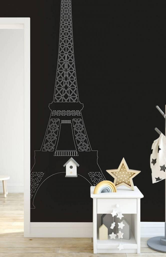 Zwart Wit behang - Portret van de Eiffeltoren, zwart - Kantoor 4