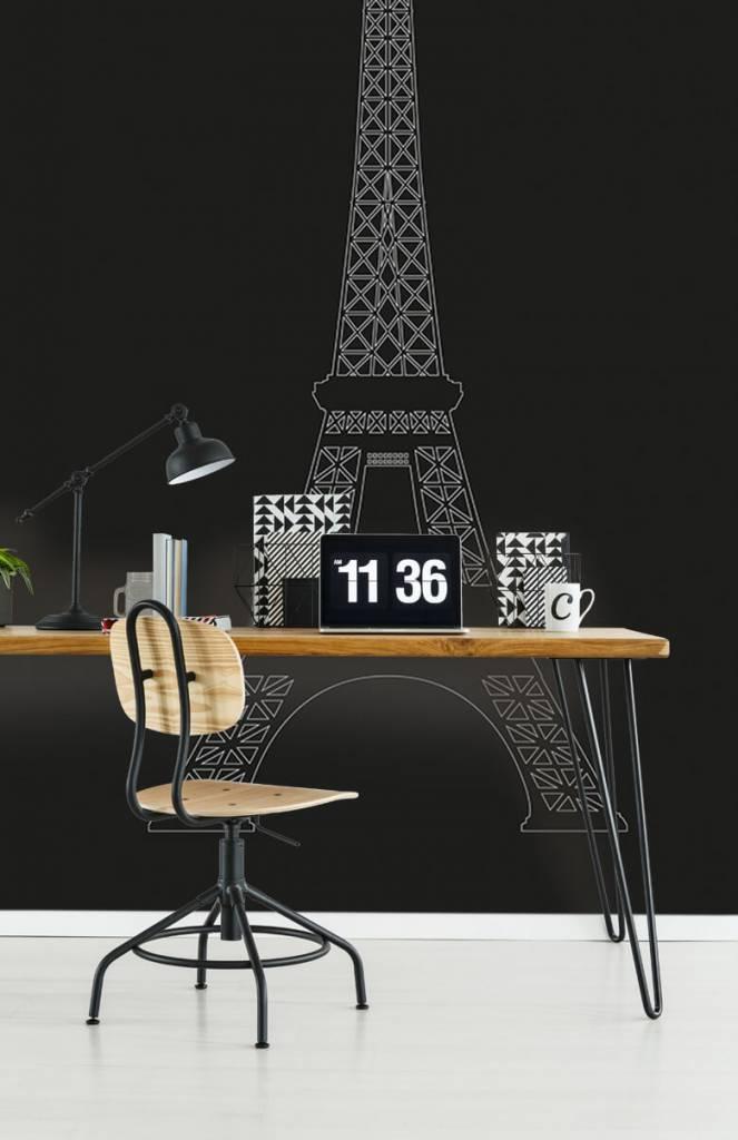 Zwart Wit behang - Portret van de Eiffeltoren, zwart - Kantoor 5