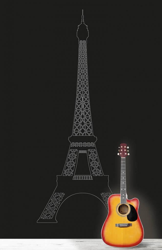Zwart Wit behang - Portret van de Eiffeltoren, zwart - Kantoor 6