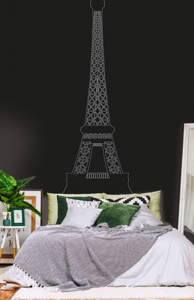 Zwart Wit behang - Portret van de Eiffeltoren, zwart - Kantoor 7