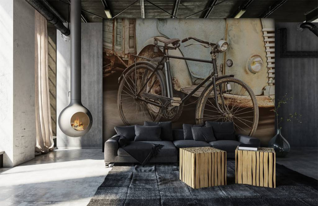 Retro behang - Retro oude fiets met vrachtwagen - Slaapkamer 1