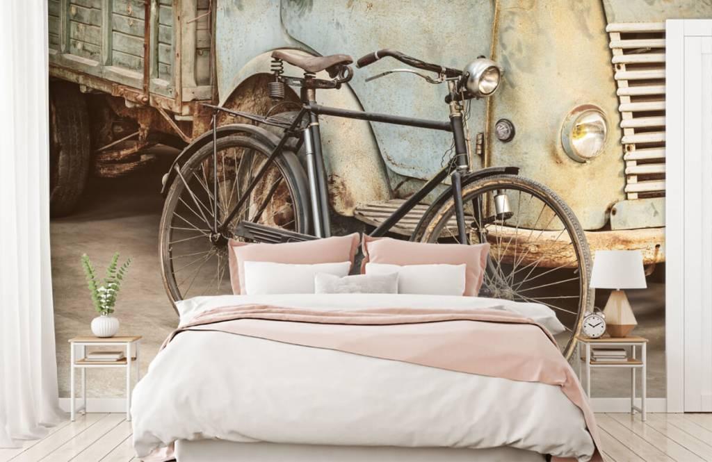 Retro behang - Retro oude fiets met vrachtwagen - Slaapkamer 3