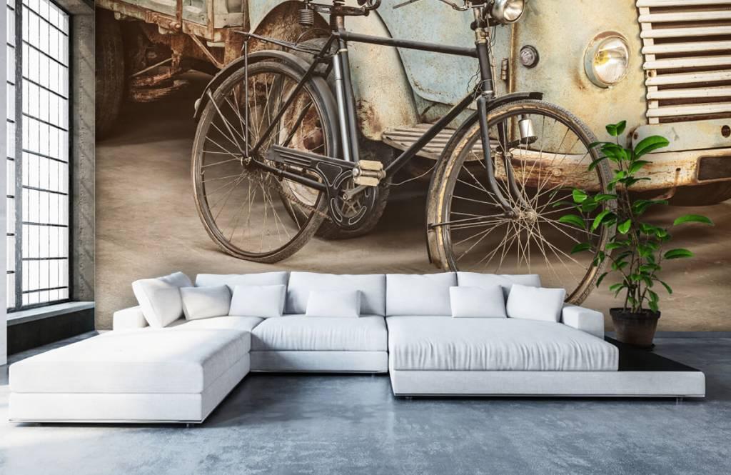 Retro behang - Retro oude fiets met vrachtwagen - Slaapkamer 6