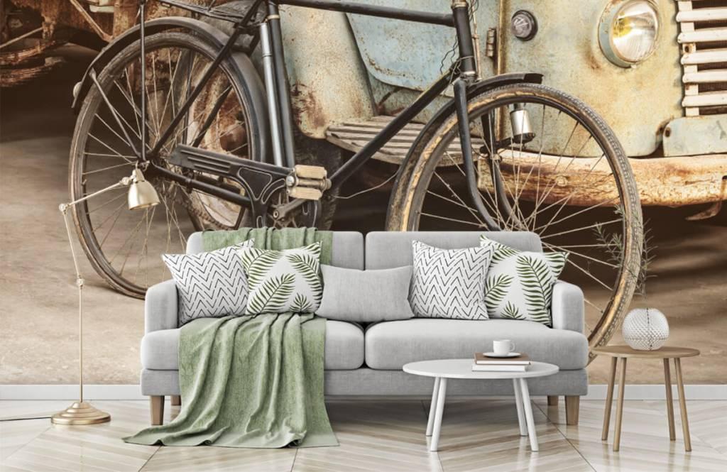 Retro behang - Retro oude fiets met vrachtwagen - Slaapkamer 7
