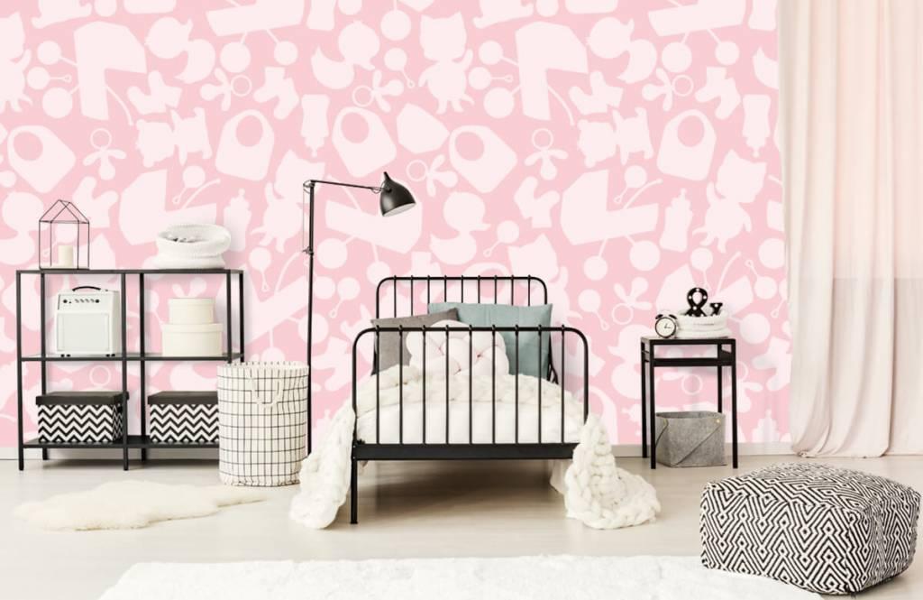 Baby Behang Boom.Roze Babybehang Fotobehang