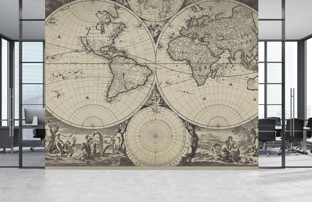 Retro behang - Wereldkaart - Woonkamer 3