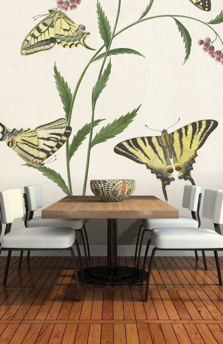 Kunst Vier vlinders op bloemen, Paulus Knogh 5
