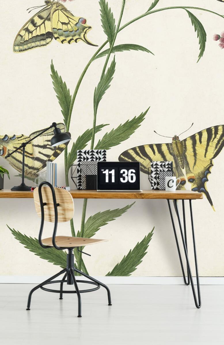Kunst Vier vlinders op bloemen, Paulus Knogh 9