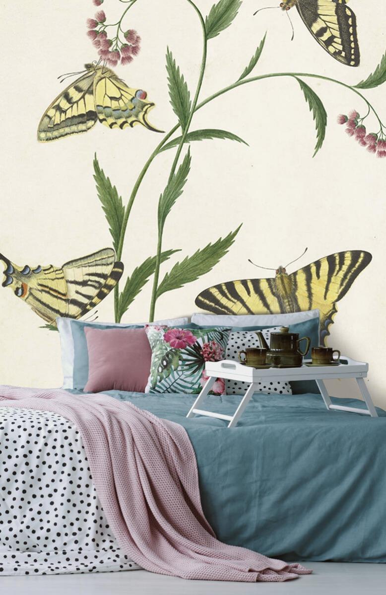 Kunst Vier vlinders op bloemen, Paulus Knogh 12