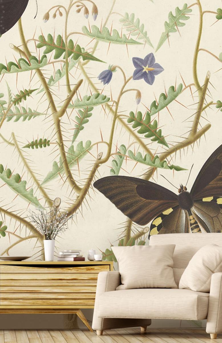Kunst Een bloesemende struik met twee uitheemse vlinders 1