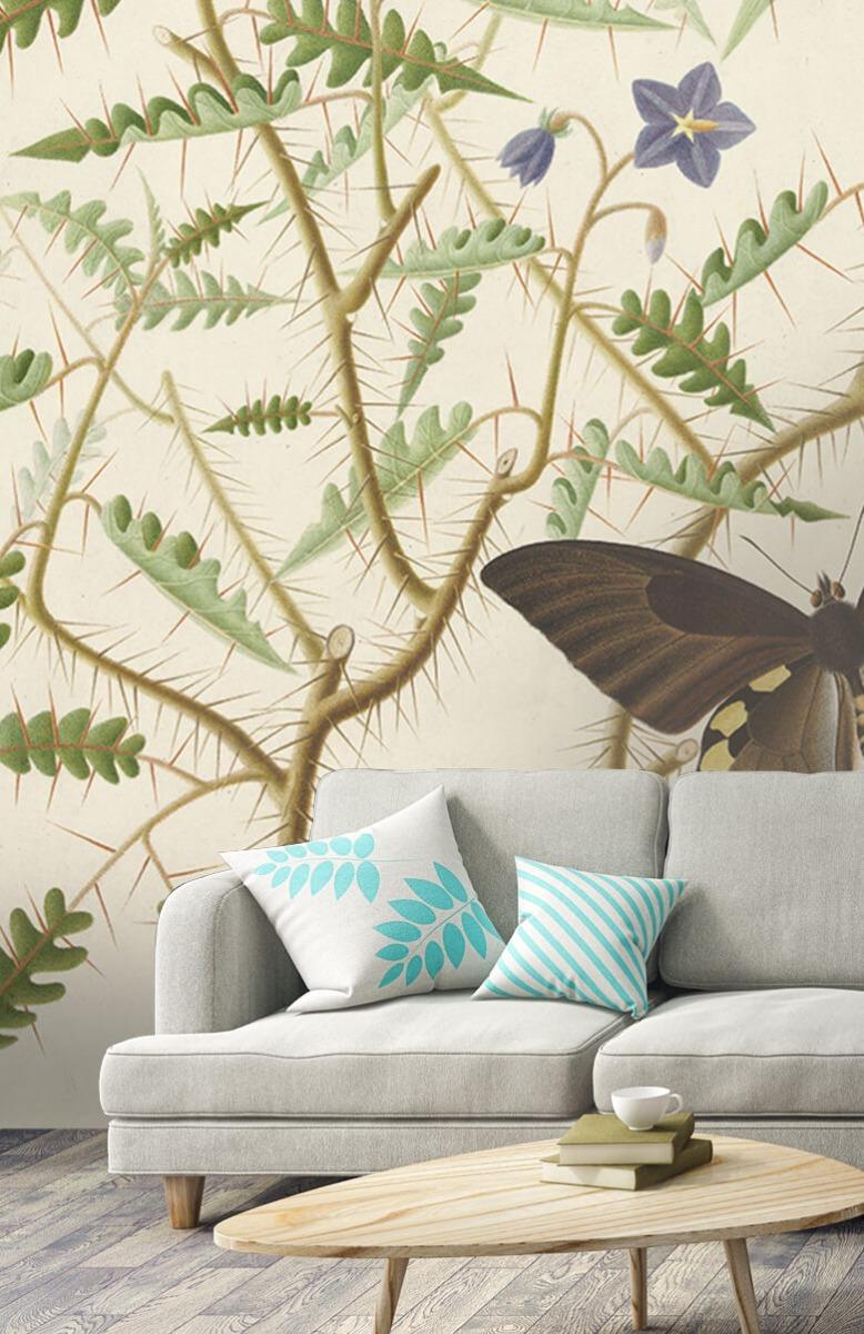 Kunst Een bloesemende struik met twee uitheemse vlinders 2