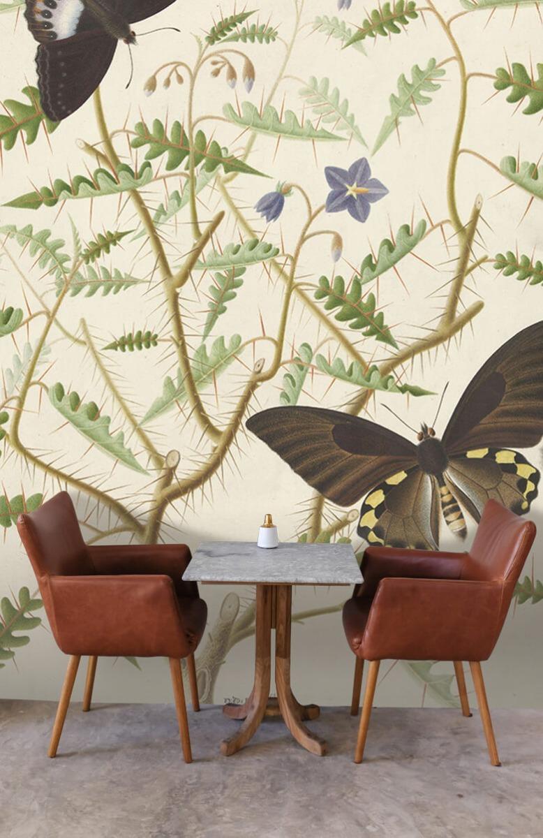 Kunst Een bloesemende struik met twee uitheemse vlinders 3