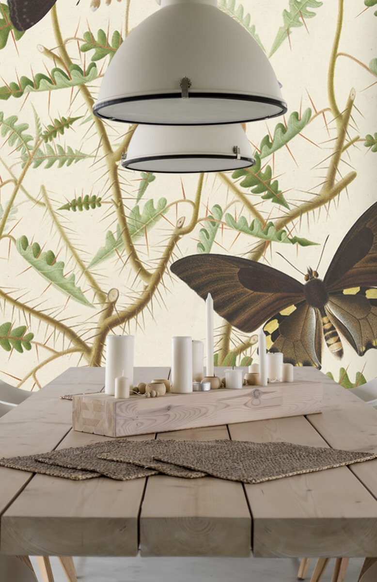Kunst Een bloesemende struik met twee uitheemse vlinders 4