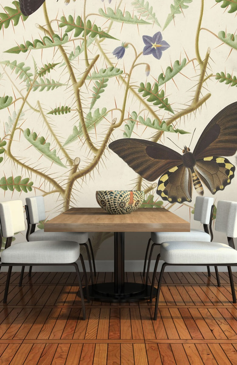 Kunst Een bloesemende struik met twee uitheemse vlinders 5