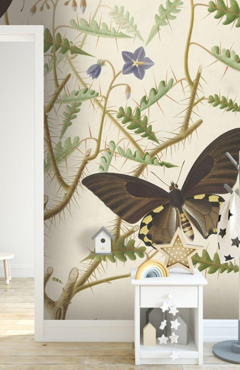 Kunst Een bloesemende struik met twee uitheemse vlinders 6