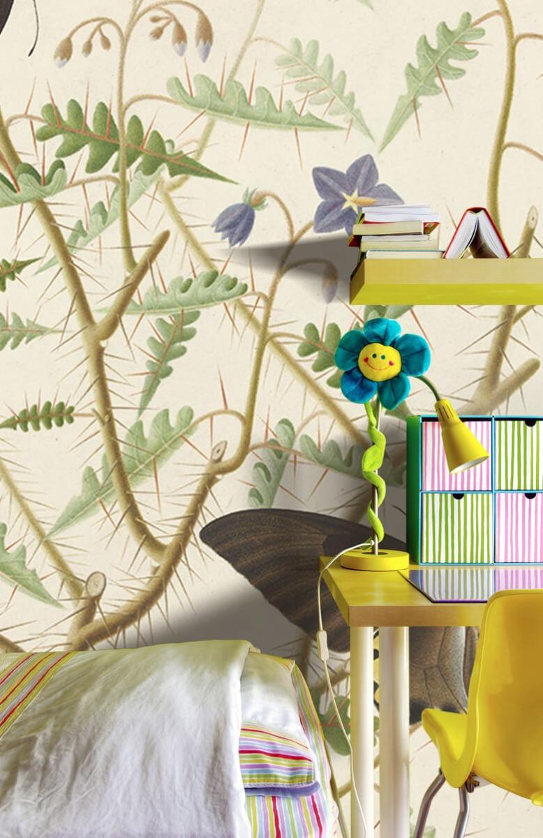 Kunst Een bloesemende struik met twee uitheemse vlinders 7