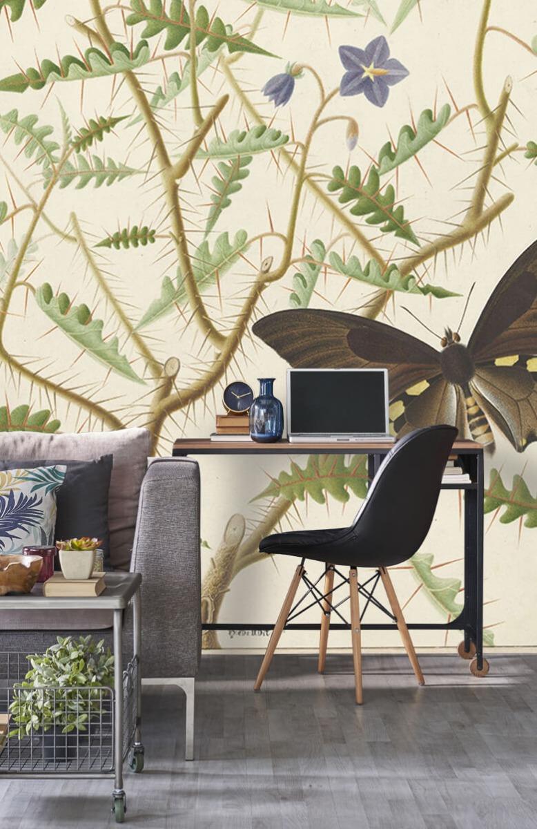 Kunst Een bloesemende struik met twee uitheemse vlinders 8