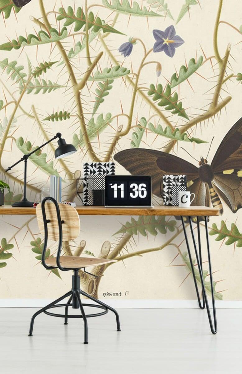 Kunst Een bloesemende struik met twee uitheemse vlinders 9